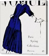 Vogue Cover Illustration Of A Woman Wearing Blue Acrylic Print