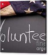 Volunteer Sign On Chalkboard Acrylic Print