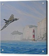 Vulcan Xh558 Passing Beachy Head Acrylic Print by Elaine Jones