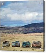 Vws Lined Up Under A New Mexico Sky Acrylic Print