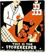 W P A  Food Hygiene Poster C. 1937 Acrylic Print by Daniel Hagerman