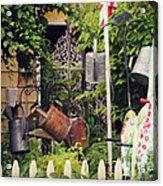 Wacky Watering Can Garden Acrylic Print