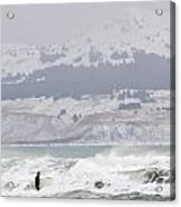 Wading Into Winter Surf Acrylic Print