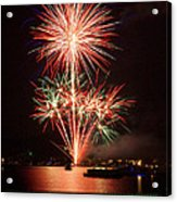 Wading View Of Fireworks Acrylic Print by Mark Miller