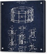 Waechtler Snare Drum Patent Drawing From 1910 - Navy Blue Acrylic Print