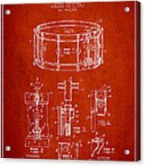 Waechtler Snare Drum Patent Drawing From 1910 - Red Acrylic Print