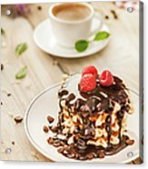 Waffles With Raspberry, Chocolate Sauce Acrylic Print