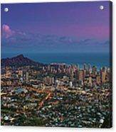 Waikiki And Diamond Head At Sunset Acrylic Print