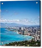 Waikiki Beach From Diamond Head Acrylic Print