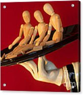 Waiter Serving 3 Dummies Acrylic Print by Bob Christopher