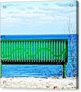 Waiting For Summer - The Green Bench Acrylic Print