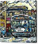 Waiting For The 80 Bus Montreal Memories Winter City Scene Painting January Art Carole Spandau Art Acrylic Print