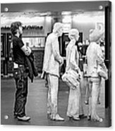 Waiting In Line At Grand Central Terminal 1 - Black And White Acrylic Print