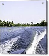 Wake From The Wash Of An Outboard Motor Boat In A Lagoon Acrylic Print
