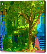 Walk In The City Past Blue Houses Staircases And Shade Trees Montreal Summer Scene Carole Spandau Acrylic Print