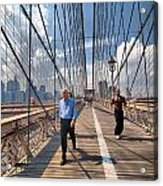 Walkers And Joggers On The Brooklyn Bridge Acrylic Print by Amy Cicconi