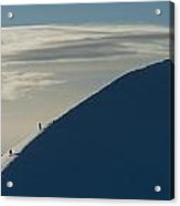 Walkers Climbing Snowy Ridge Of Sgorr Acrylic Print