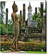 Walking And Sitting Buddha Images At Wat Sa Si In Sukhothai Historical Park-thailand Acrylic Print