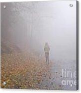 Walking On A Foggy Road Acrylic Print