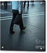 Walking On A Train Station Acrylic Print