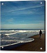 Walking On Seaside Beach Acrylic Print
