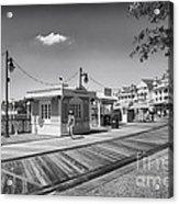 Walking On The Boardwalk In Black And White Walt Disney World Acrylic Print