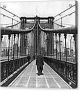 Walking On The Brooklyn Bridge Acrylic Print