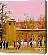 Walking Sherbrooke By Roddick Gates Mcgill Campus View Of Mont Royal Montreal Scenes Carole Spandau  Acrylic Print