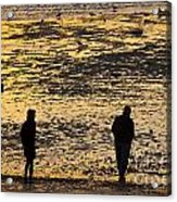 Strangers On A Shore - Walking Silhouettes Acrylic Print