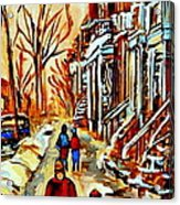 Walking The Dog By Balconville Winter Street Scenes Art Of Montreal City Paintings Carole Spandau Acrylic Print