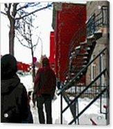 Walking The Dog Through Snowy Streets Of Montreal Urban Winter City Scenes Carole Spandau Acrylic Print