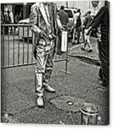 Walking The Gator On Bourbon St. Nola Black And White Acrylic Print