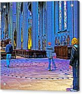 Walking The Indoor Labyrinth In Grace Cathedral In San Francisco-california Acrylic Print