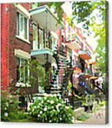 Walking Verdun In Summer Winding Staircases And Pathways Urban Montreal City Scenes Carole Spandau Acrylic Print