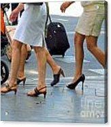 Walking With High Heels Acrylic Print