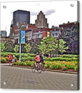Walkway By Quays Along Saint Lawrence River In Montreal-qc Acrylic Print