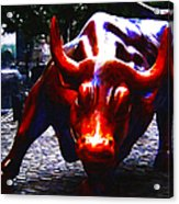 Wall Street Bull - Painterly Acrylic Print by Wingsdomain Art and Photography