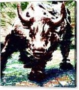 Wall Street Bull - Typography Acrylic Print