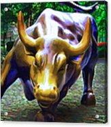 Wall Street Bull V2 - Square Acrylic Print by Wingsdomain Art and Photography