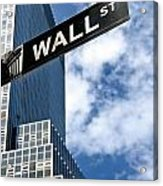 Wall Street Street Sign New York City Acrylic Print