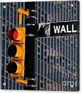 Wall Street Traffic Light New York Acrylic Print by Amy Cicconi