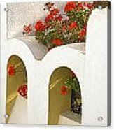 Wall With Red Flowers Acrylic Print