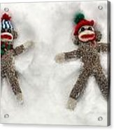 Wally And Petey Snow Angels Acrylic Print