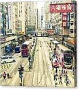 Wan Chai Street View In Hong Kong Acrylic Print