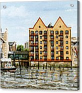 Wapping Thames Police Station And Rebuilt St Johns Wharf London Acrylic Print
