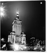 Warsaw Poland Downtown Skyline At Night Acrylic Print