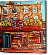 Warshaw's Bargain Fruit Store Rue St Laurent Montreal Paintings City Scene Art Carole Spandau Acrylic Print