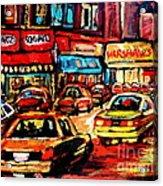 Warshaw's Bargain Fruits Store Montreal Night Scene Jewish Montreal Painting Carole Spandau Acrylic Print