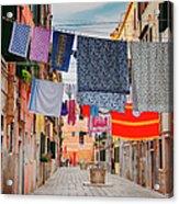 Washing Hanging Across Street, Venice Acrylic Print