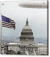 Washington Capitol And Blimp Acrylic Print